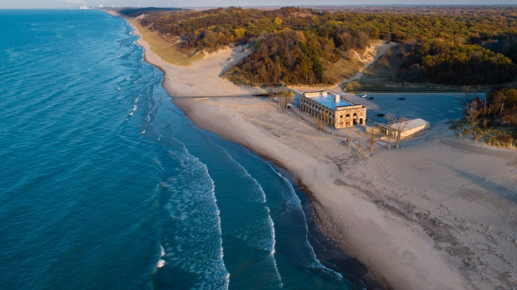 Aerial View Indiana Dunes State Park