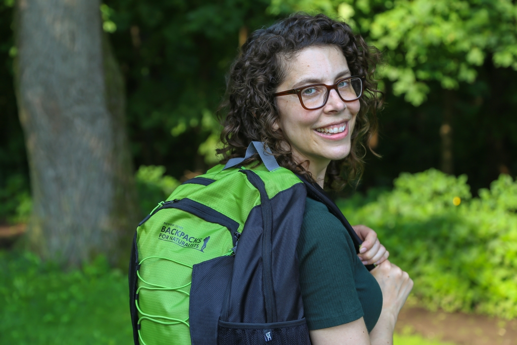 Woman with a Backpack for Naturalists