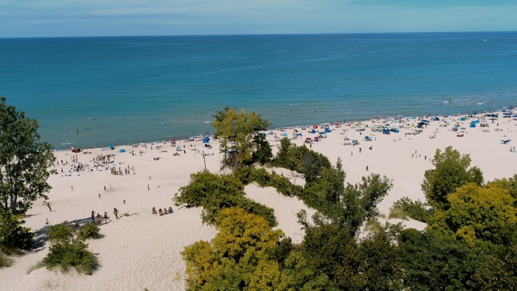a beach at the indiana dunes