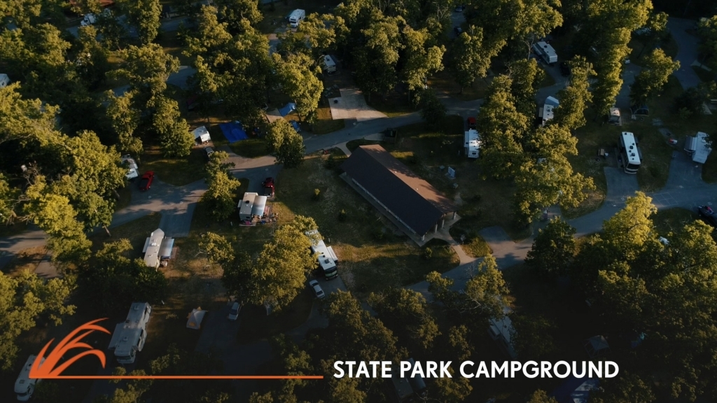 aerial view of a campground