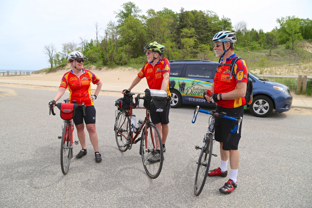 A group of bicyclists