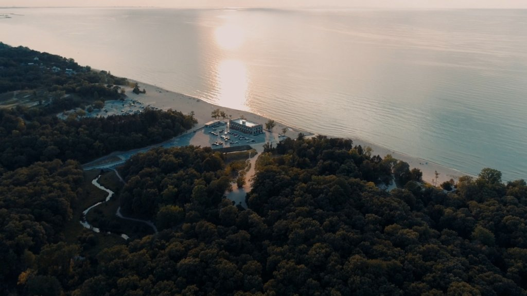 aerial view of a beach at the indiana dunes