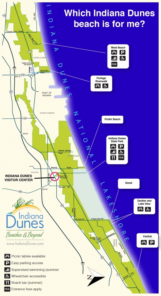 Indiana Dunes Beaches Map
