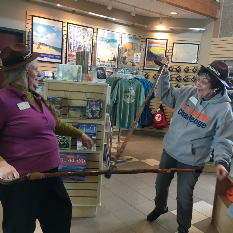 We do not encourage sword fighting in the national park gift shop. But it sure is funny.