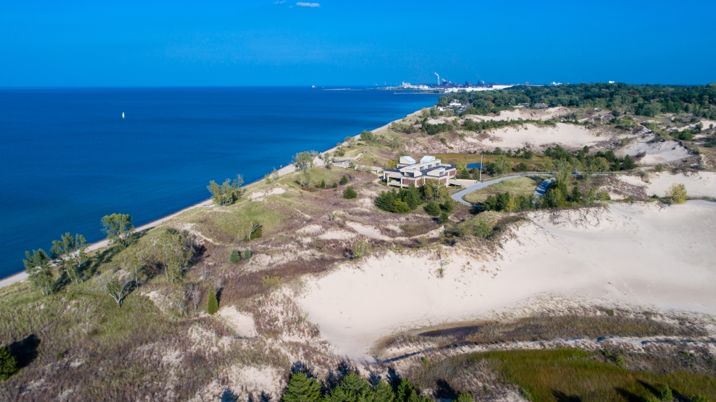 Aerial view of West Beach at Indiana Dunes National Park