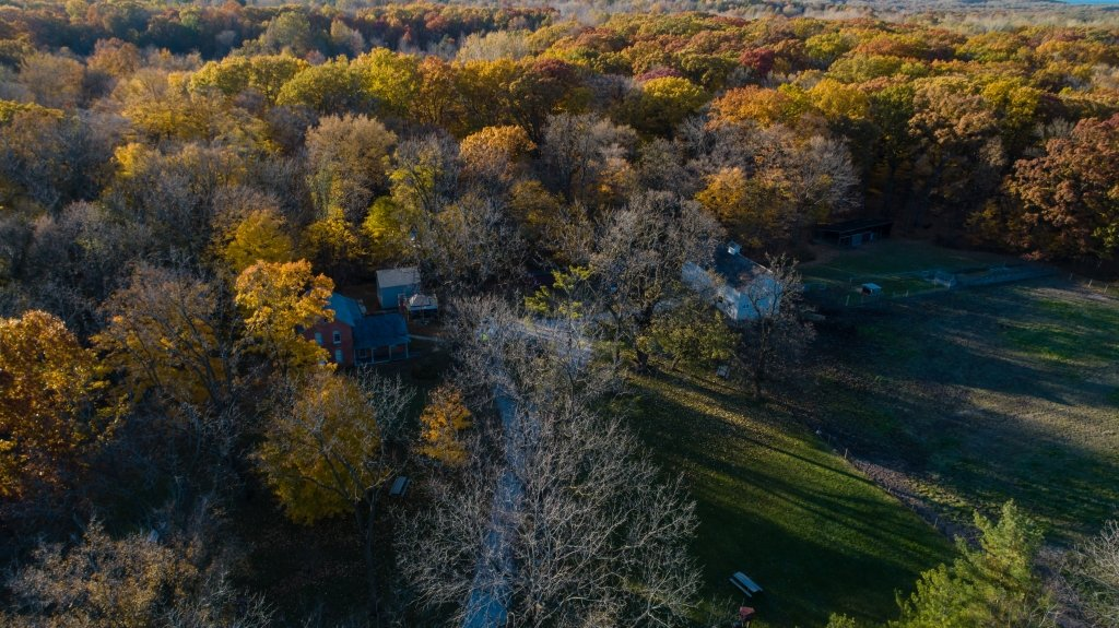Aerial View of Chellberg Farm and the surround woodlands