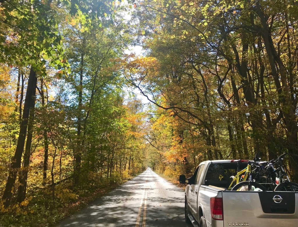 Pickup Truck with bicycles in the back. Fall leaves in the background